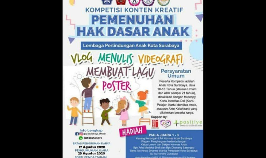 Kompetisi Konten Kreatif LPA Surabaya, SPENLUSA Sabet Juara II Vlog