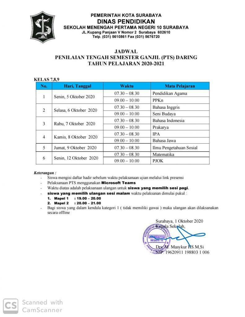 JADWAL PTS DARING SEMESTER GASAL 2020-2021 - SMP NEGERI 10 ...